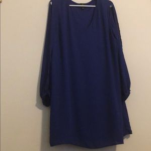 Worthington XL Slit Open Long Sleeve Blue Dress